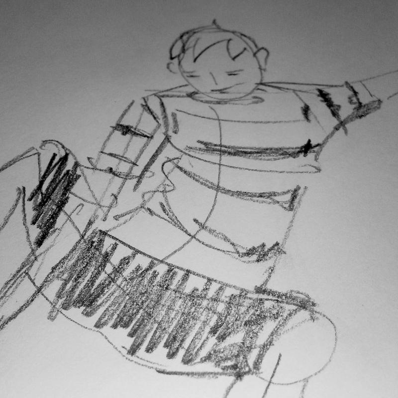 Boceto a lapiz de un niño patinando