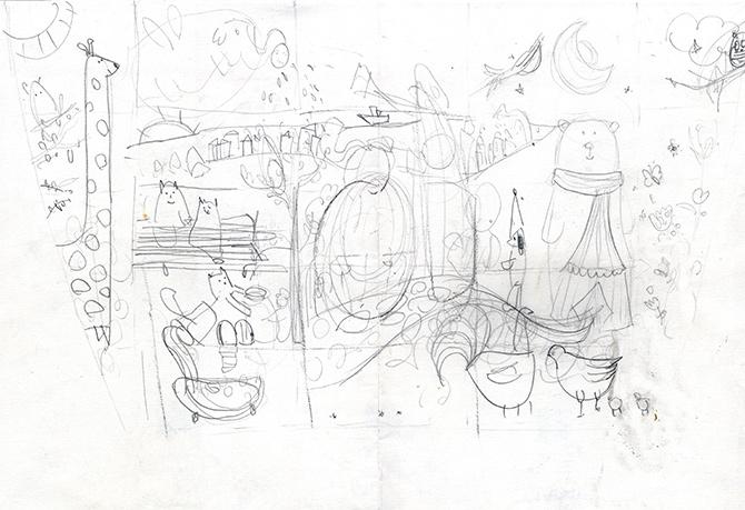 boceto a lápiz del mural del Aita Mari