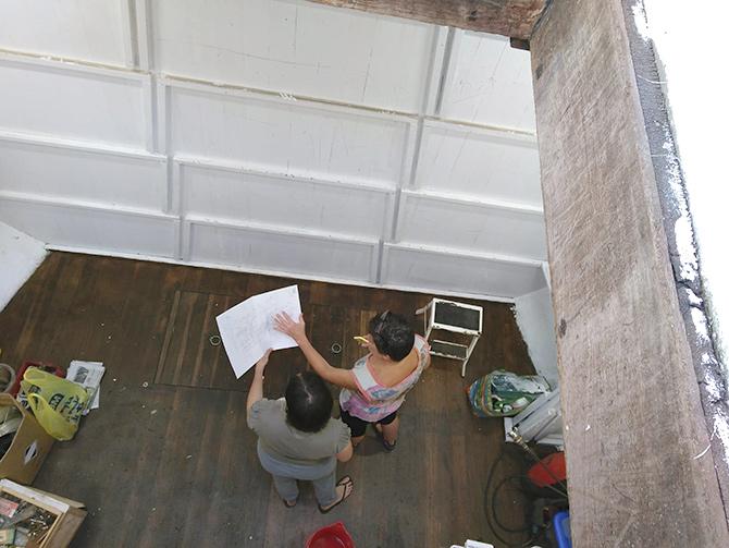 Pasando el boceto a la pared