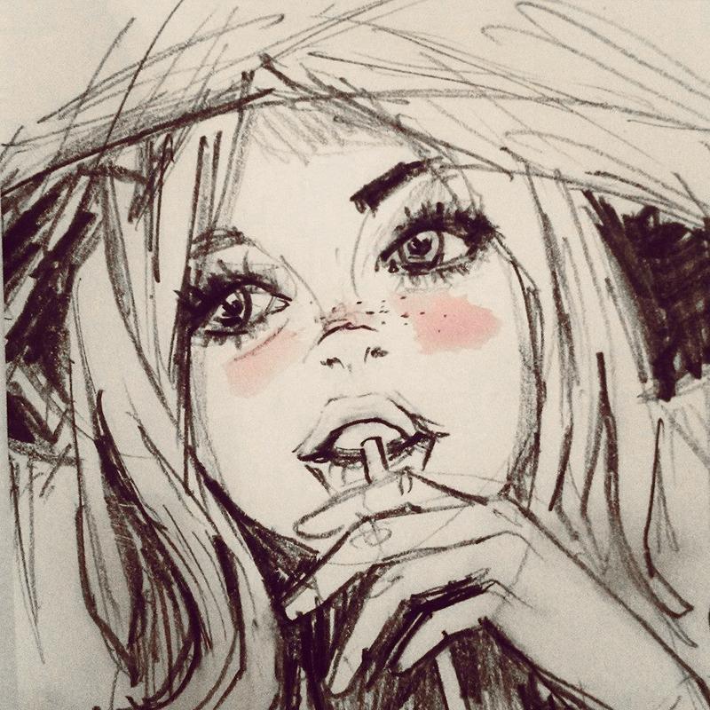 Cóctel. Dibujo a lápiz y toque de acuarela