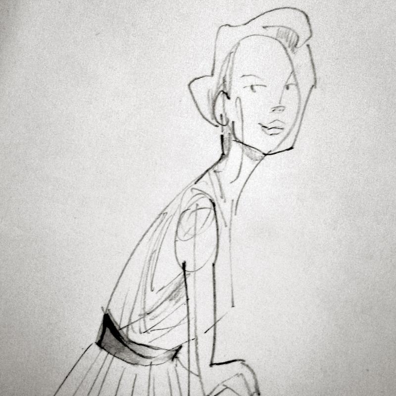 Señora elegante. Dibujo a lápiz