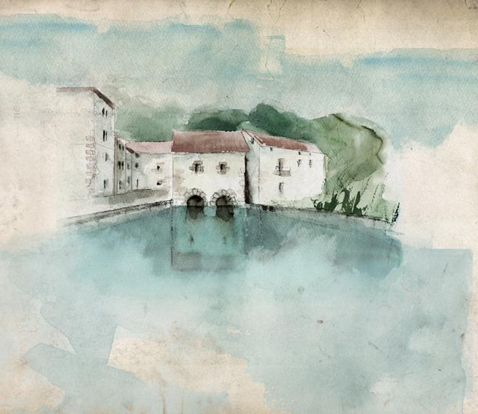 Ilustración del viejo molino de Ataun